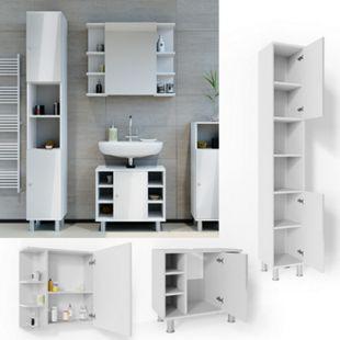 VICCO Badmöbel Set FYNN 3 Teile Weiß Hochglanz - Badezimmer Spiegel Badunterschrank Hochschrank - Bild 1