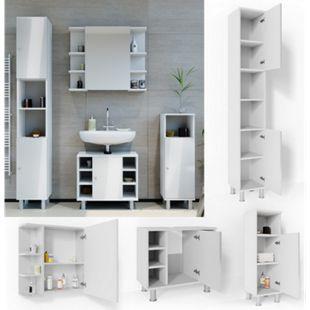 VICCO Badmöbel Set FYNN 4 Teile Weiß Hochglanz - Badspiegel Waschbeckenunterschrank Badschrank - Bild 1