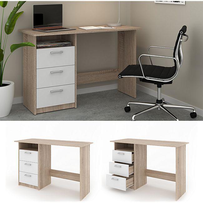 VICCO Schreibtisch MEIKO Weiß Sonoma Eiche Arbeitstisch Bürotisch Regal PC Tisch - Bild 1