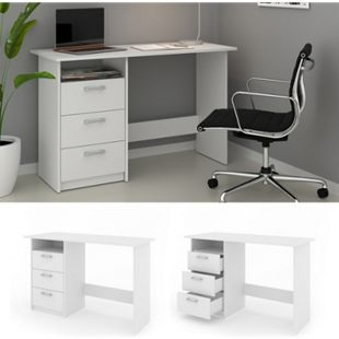 VICCO Schreibtisch MEIKO Weiß Arbeitstisch Bürotisch Regal PC Tisch Schubladen - Bild 1