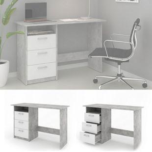 VICCO Schreibtisch MEIKO Weiß Beton Optik Arbeitstisch Bürotisch Regal PC Tisch - Bild 1