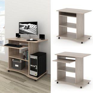 VICCO Computertisch HARM Tisch Bürotisch Laptoptisch Büro Schreibtisch rollbar Sonoma - Bild 1