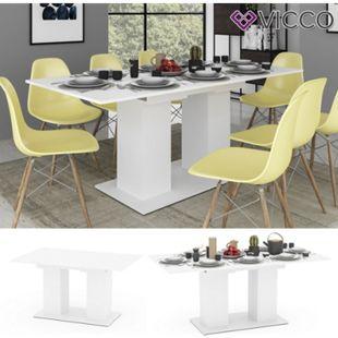 VICCO Esstisch DIX 140 - 180 cm Weiß matt Esszimmertisch ausziehbar Küche Tisch - Bild 1