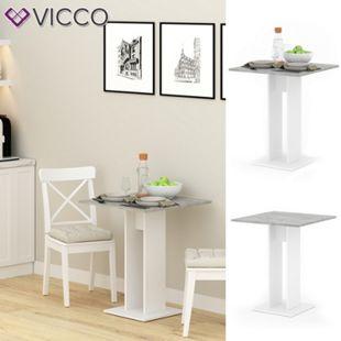 VICCO Esstisch EWERT Küchentisch Esszimmer Tisch Säulentisch weiß beton 65x65 cm - Bild 1