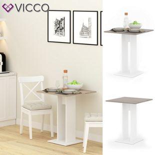 VICCO Esstisch EWERT Küchentisch Esszimmer Säulentisch weiß Sonoma Eiche 65x65 - Bild 1