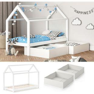 VITALISPA Kinderbett WIKI 90x200 cm Weiß Schlafplatz Faltboxen Hausbett Kinderhaus - Bild 1