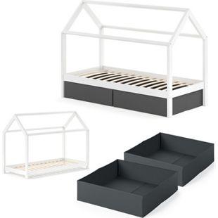 VITALISPA Kinderbett WIKI 90x200 cm Weiß Schlafplatz Faltboxen Schwarz Hausbett Kinderhaus - Bild 1