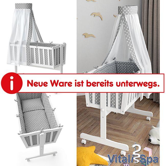 VITALISPA Wiege NOAH Schaukelwiege Babywiege Holz Weiß Grau Bett Set Buche - Bild 1