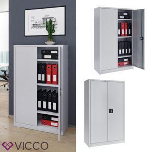 VICCO Aktenschrank 140 cm Büroschrank Werkzeugschrank Metallschrank grau - Bild 1