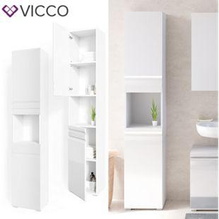 VICCO Badschrank FREDDY Weiß Hochglanz Badezimmerschrank Hochschrank Bad - Bild 1