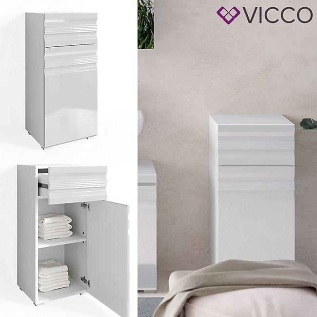 VICCO Badschrank FREDDY weiß hochglanz Badezimmer Badregal Midischrank - Bild 1