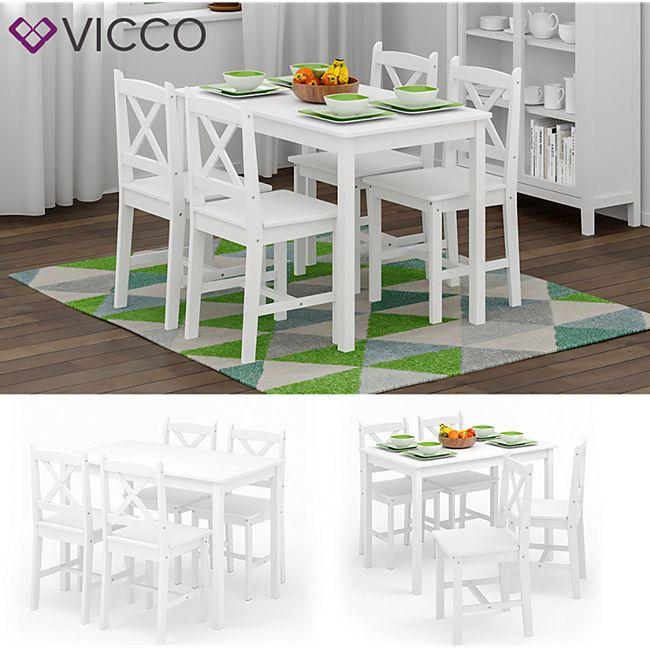 VICCO Esszimmerset ALARA Tischgruppe Massiv Holz Essgruppe Esstisch Weiß Stuhl - Bild 1
