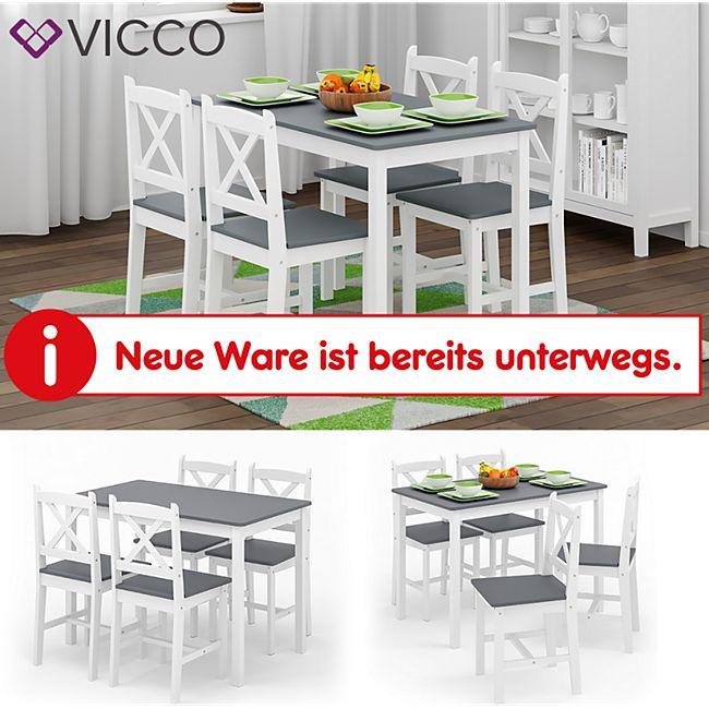 VICCO Esszimmerset ALARA Tischgruppe Massiv Holz Essgruppe Esstisch Weiß Grau - Bild 1