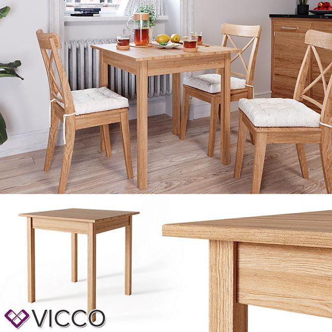 VICCO Esstisch JORGE 75x75 cm Eiche Massiv Esszimmertisch Küche Tisch Holz - Bild 1