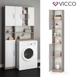 VICCO Anstellschrank LUIS Waschmaschinenschrank Badmöbel Badschrank Sonoma Weiß - Bild 1