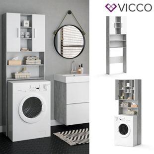 VICCO Waschmaschinenschrank LUIS 190x64cm Weiß Beton Badschrank Hochschrank - Bild 1