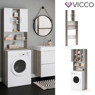 VICCO Waschmaschinenschrank LUIS 190x64cm Weiß Sonoma Badschrank Hochschrank - Bild 1