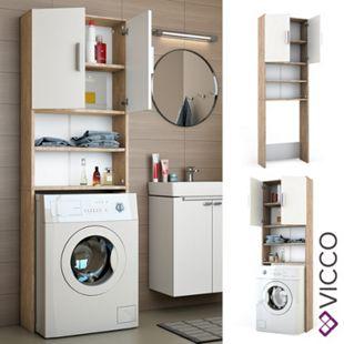 VICCO Waschmaschinenschrank 190 x 64 cm in Weiß Sonoma Badschrank Hochschrank - Bild 1