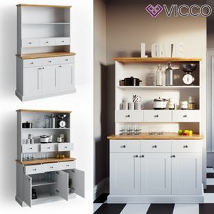 VICCO Küchenschrank CAMBRIDGE Vitrine Buffet Küchenregal Landhaus weiß Eiche - Bild 1