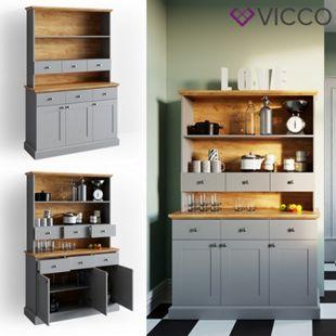 VICCO Küchenschrank CAMBRIDGE Vitrine Buffet Küchenregal Landhaus grau Eiche - Bild 1