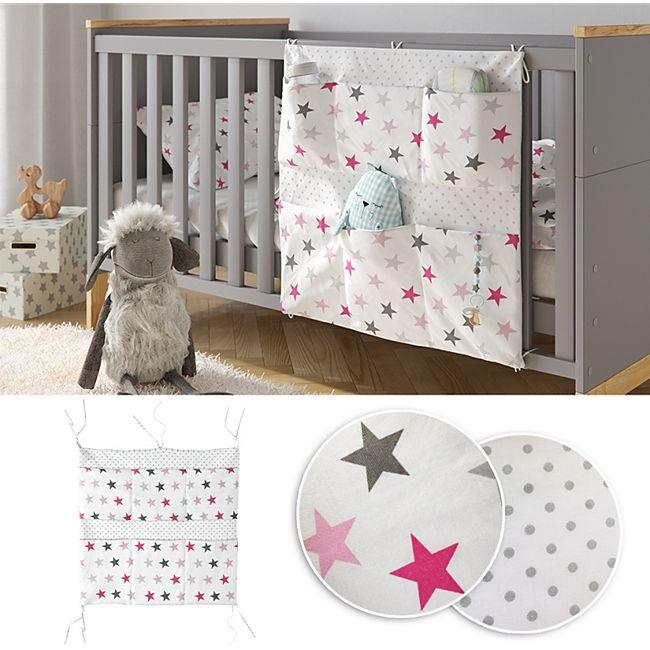 VITALISPA Bett-Organizer Rosa Utensilo Kinderzimmer Babybett Tasche 60 x 60 cm - Bild 1