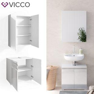 VICCO Badmöbelset FREDDY Spiegelschrank Unterschrank weiß hochglanz Waschtisch - Bild 1