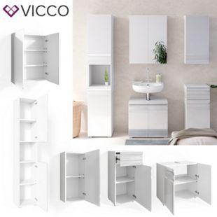 VICCO Badmöbelset FREDDY Spiegelschrank Unterschrank Hoch weiß hochglanz Bad - Bild 1