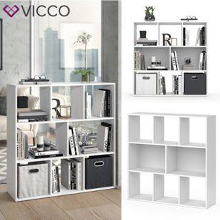 VICCO Raumteiler ARYA 8 Fächer Weiß - Bücherregal Wandregal Standregal Regal - Bild 1