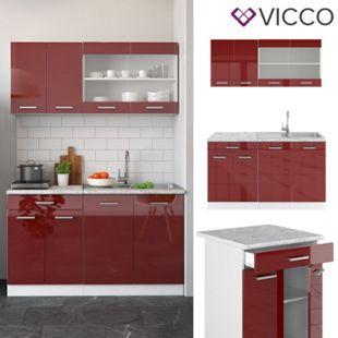VICCO Küchenzeile SINGLE Einbauküche 140 cm Küche Rot Bordeaux Hochglanz R-LINE - Bild 1