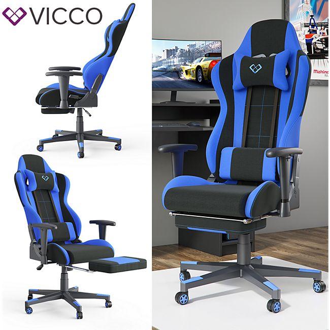 VICCO Gamingstuhl ALPHA schwarz blau Bürostuhl Schreibtischstuhl Drehstuhl Sport - Bild 1