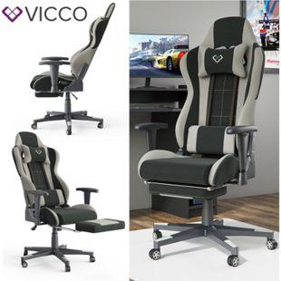 VICCO Gamingstuhl ALPHA schwarz grau Bürostuhl Schreibtischstuhl Drehstuhl Sport - Bild 1