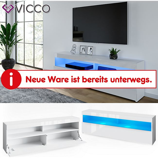 VICCO Lowboard JUNO Weiß hochglanz 160cm Schrank Sideboard TV Regal Fernsehtisch - Bild 1
