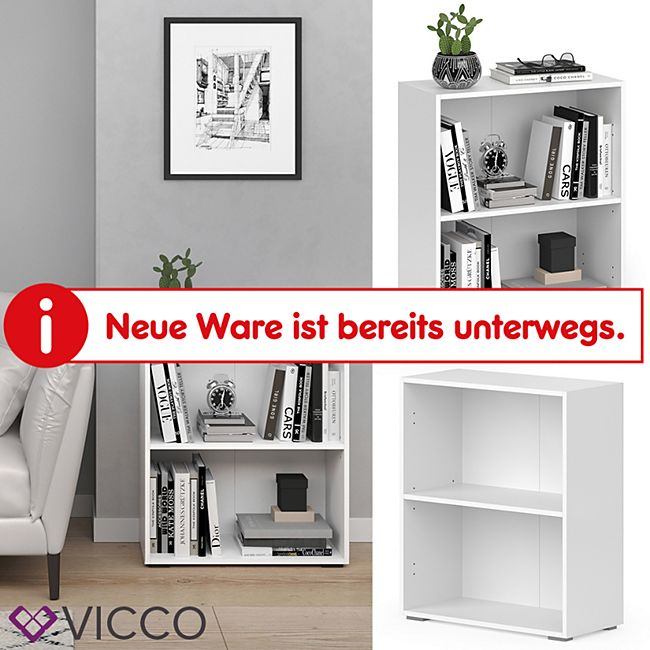 VICCO Bücherregal EASY S Weiß Standegal Wandregal Aktenregal Schrank Büro - Bild 1