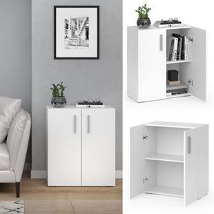 VICCO Bücherregal EASY S Weiß Standegal Wandregal Aktenregal Schrank Büro Türen - Bild 1