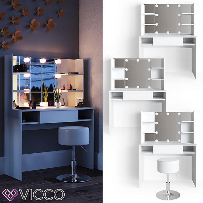 VICCO LED Schminktisch DAENERYS Weiß Frisiertisch Frisierkommode Spiegel Hocker - Bild 1