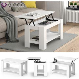 VICCO Couchtisch LORENZ  höhenverstellbar Weiß Sofatisch Kaffetisch Wohnzimmer Tisch - Bild 1