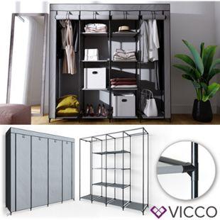 VICCO Kleiderschrank XXXL DIY Faltschrank Stoffschrank Steckregal System Grau - Bild 1