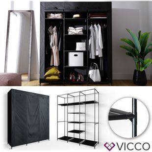 VICCO Kleiderschrank XXL DIY Faltschrank Stoffschrank Steckregal System schwarz - Bild 1