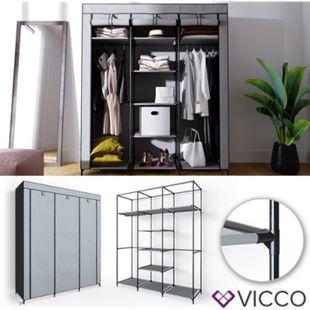 VICCO Kleiderschrank XXL DIY Faltschrank Stoffschrank Steckregal System Grau - Bild 1