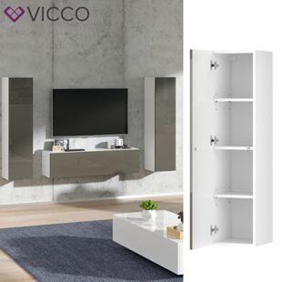 VICCO Hängeschrank JOVE Weiß Grau hochglanz - Lowboard 120cm TV Fernsehtisch - Bild 1