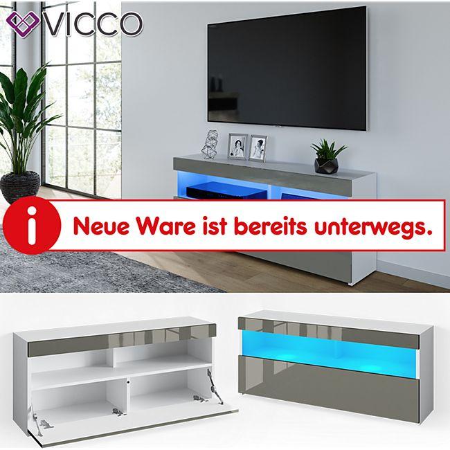 VICCO Lowboard JUNO Weiß Grau hochglanz 120cm Schrank Sideboard TV Regal Fernsehtisch - Bild 1