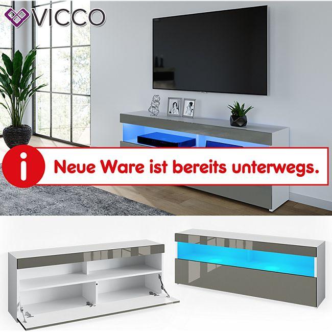 VICCO Lowboard JUNO Weiß Grau hochglanz 140cm Schrank Sideboard TV Fernsehtisch - Bild 1