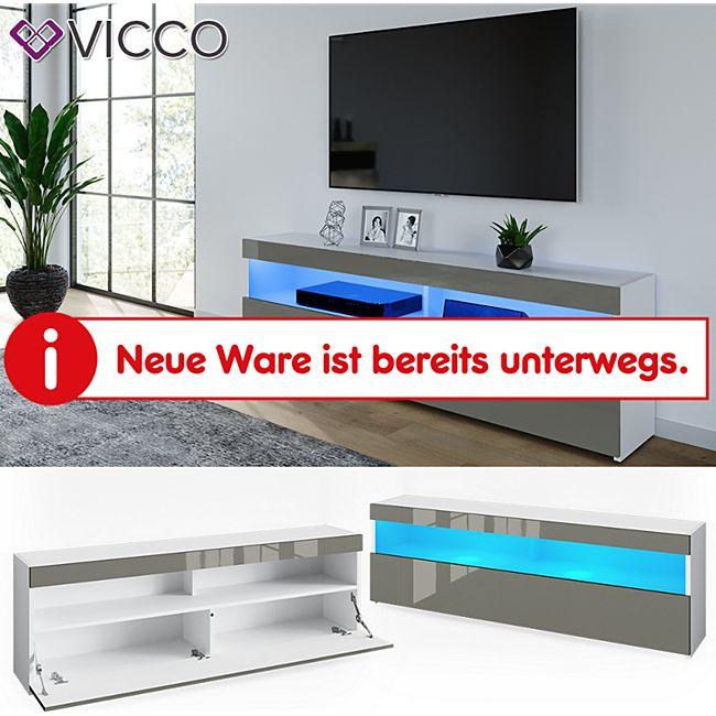 VICCO Lowboard JUNO Weiß Grau hochglanz 160cm Schrank Sideboard TV Fernsehtisch - Bild 1