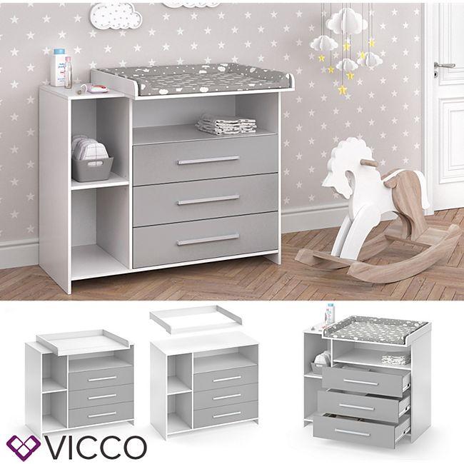 VICCO Wickelkommode OSKAR weiß grau Wickelregal Babymöbel Kommode Wickeltisch - Bild 1