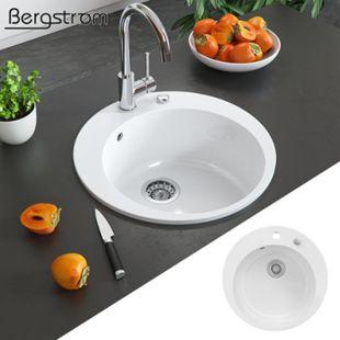 BERGSTRÖM Keramik Spüle VALENCIA Beschichtet Küche Einbauspüle Spülbecken Weiß - Bild 1