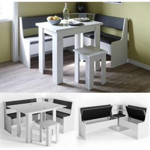 VICCO Eckbankgruppe ROMAN weiß Esszimmergruppe Sitzgruppe Küchensitzgruppe - Bild 1