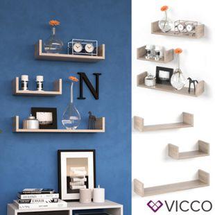 VICCO 3er Set Wandregal Hängeregal Bücherregal Wandboard Trend Regal Eiche - Bild 1