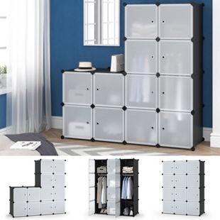 Vicco Kleiderschrank modular DIY Steckregal System Kunststoff 110x145x47 cm Garderobe Kleiderstange - Bild 1