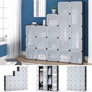 Vicco Kleiderschrank modular DIY Steckregal System Kunststoff 145x180x47 cm Garderobe Kleiderstange - Bild 1