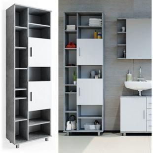 VICCO Badschrank ILIAS 190 x 60 cm Weiß Beton - Hochschrank Regal Badregal - Bild 1